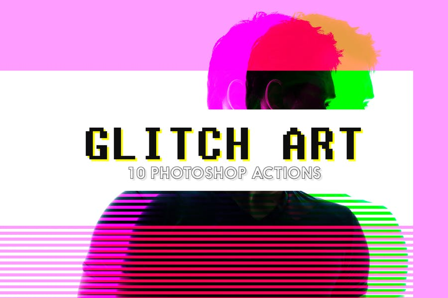 10 Glitch Art Photoshop Actions