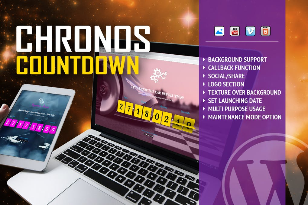Chronos countdown flip timer with background