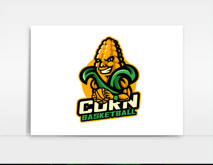 Corn Basketball - Mascot logo