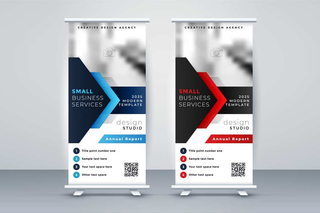 Modern company rollup standee banner blue red color