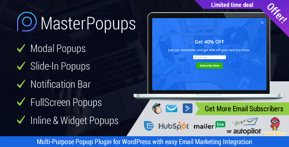 Master Popups - WordPress Popup Plugin for Email Subscription - 1