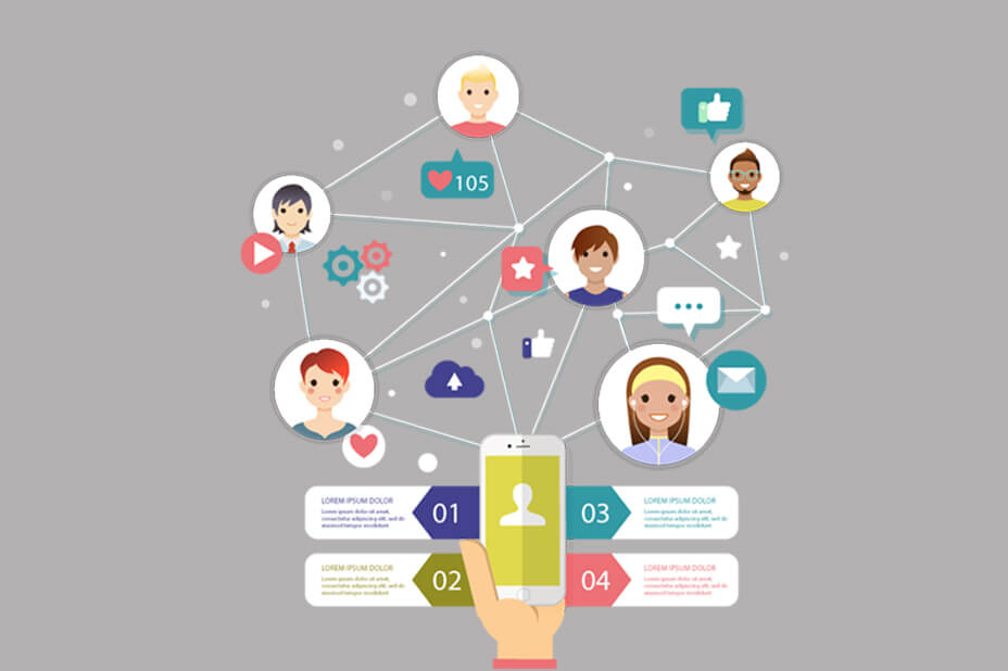 Nice infographic social networking flat design