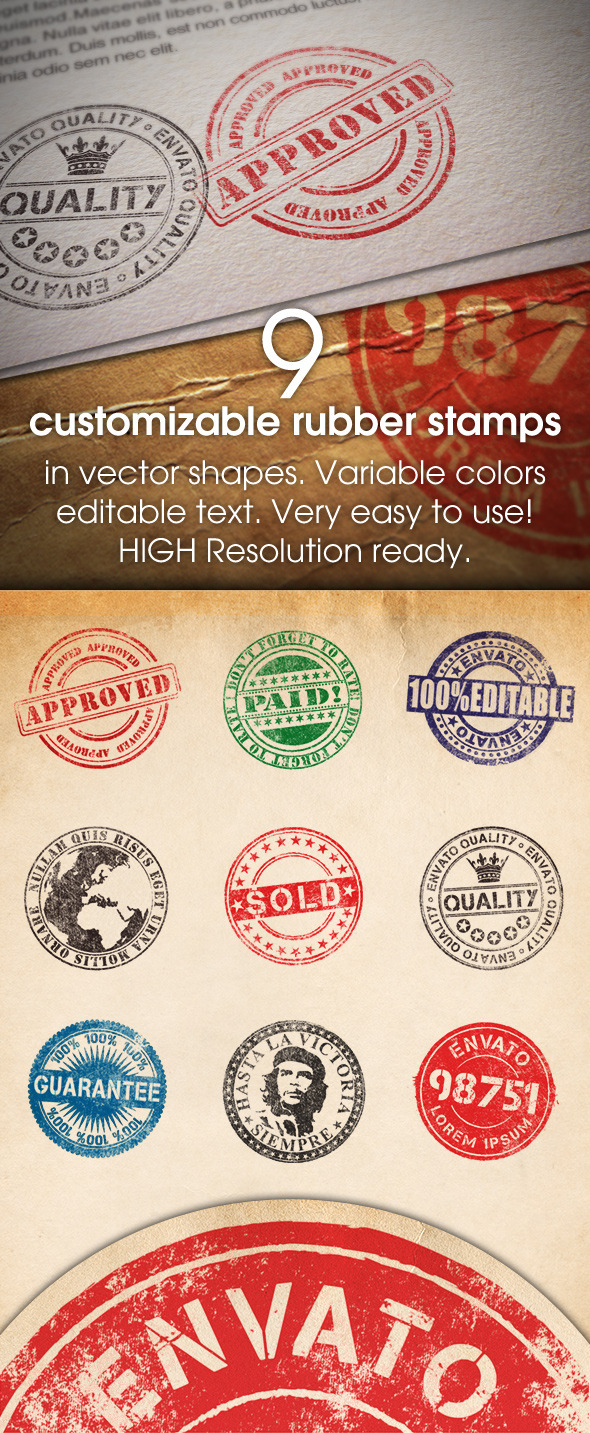 9 Customizable Rubber Stamps