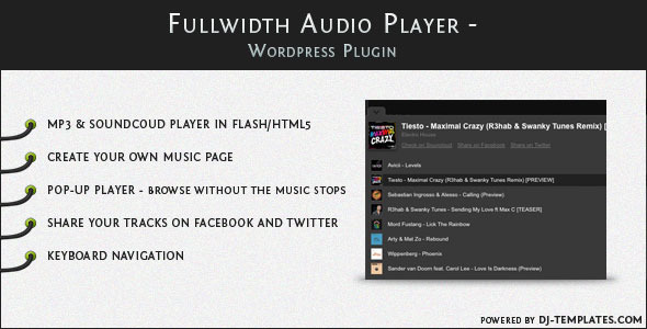 Fullwidth Audio Player - Wordpress plugin