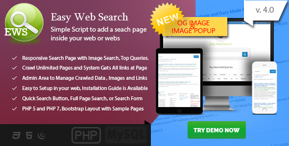 Easy Web Search - PHP Search Engine with Image Search and Crawling System