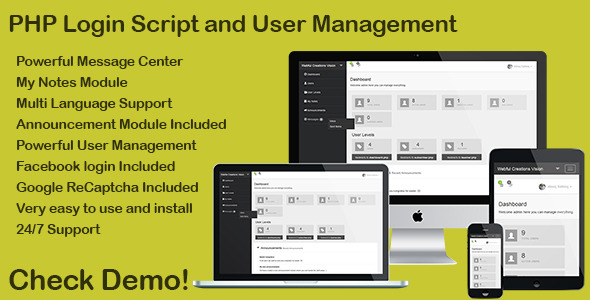 PHP Login & User Management with message center