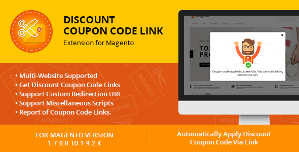 Discount Coupon Code Link Extension for Magento