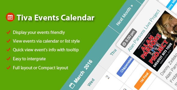 Tiva Events Calendar For PHP
