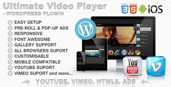 Ultimate Player with YouTube, Vimeo, Ads WP Plugin - 1