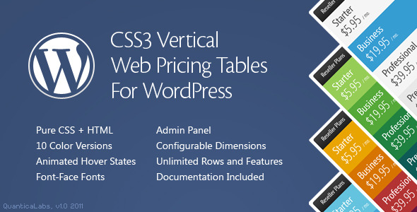 CSS3 Vertical Web Pricing Tables For WordPress - 1