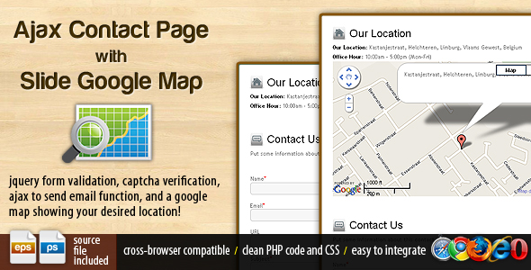 Ajax Contact Page with Google Map