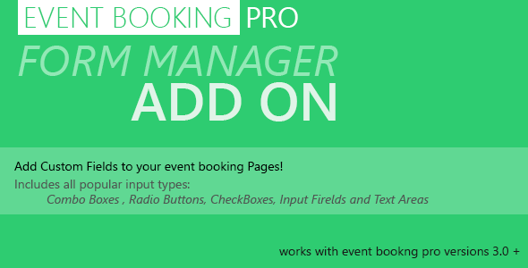 Event Booking Pro: Forms Manager Add on