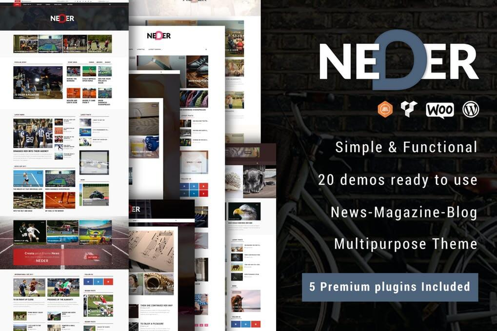 Neder WordPress News Magazine and Blog Theme  Free Download