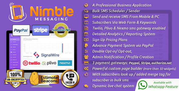 Nimble messaging bulk sms marketing web application is been integrated with what's app api - Upto 50% Off For A Limited Time Only - By Promotion King A web design development company and a top notch effective solutions provider company