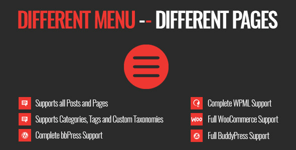 Different Menu in Different Pages