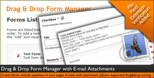 Drag & Drop Form Manager with E-mail Attachments