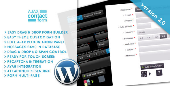 Wordpress Ajax Contact Form with attachments 2.0 - 1